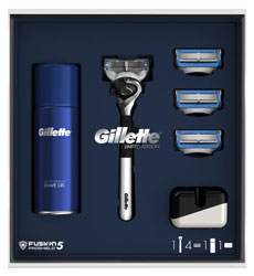 Gillette Fusion5 ProShield Limited Edition Chrome Razor + 3 Blades + Shave Gel + Stand