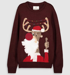 Next Burgundy Reindeer Christmas Jumper