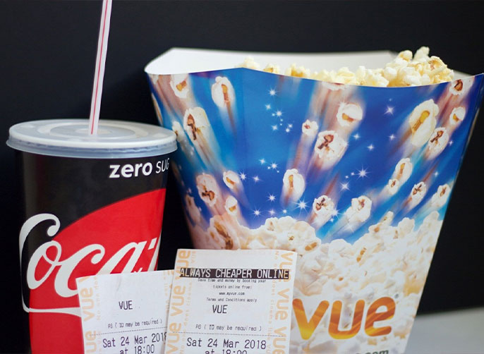 popcorn, coke and cinema tickets