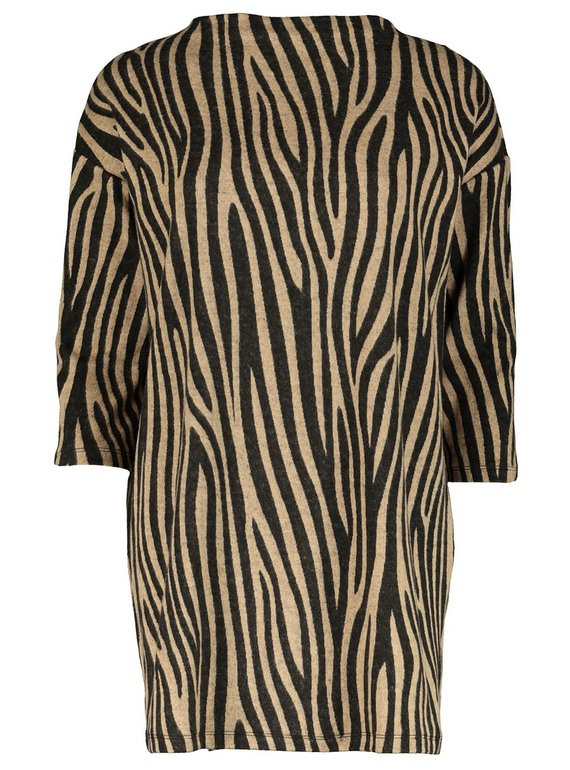 Multicoloured Zebra Print High Neck Tunic - 8