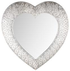 Silver Heart Moroccan Mirror - Silver