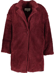 Wine Faux Fur Short Coat