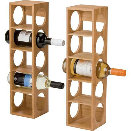 Home Set of 2 5 Bottle Bamboo Stacking Wine Racks